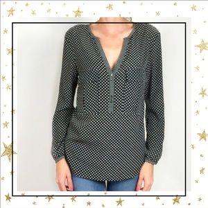 Zara Basic Polka Dot long sleeve v-neck blouse